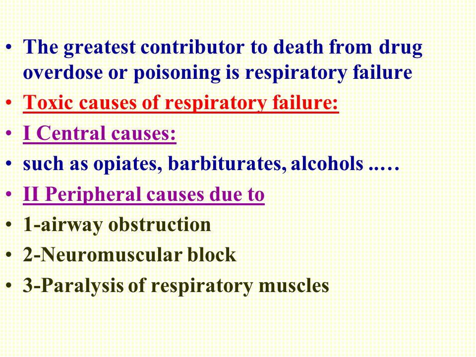 The greatest contributor to death from drug overdose or poisoning is respiratory failure
