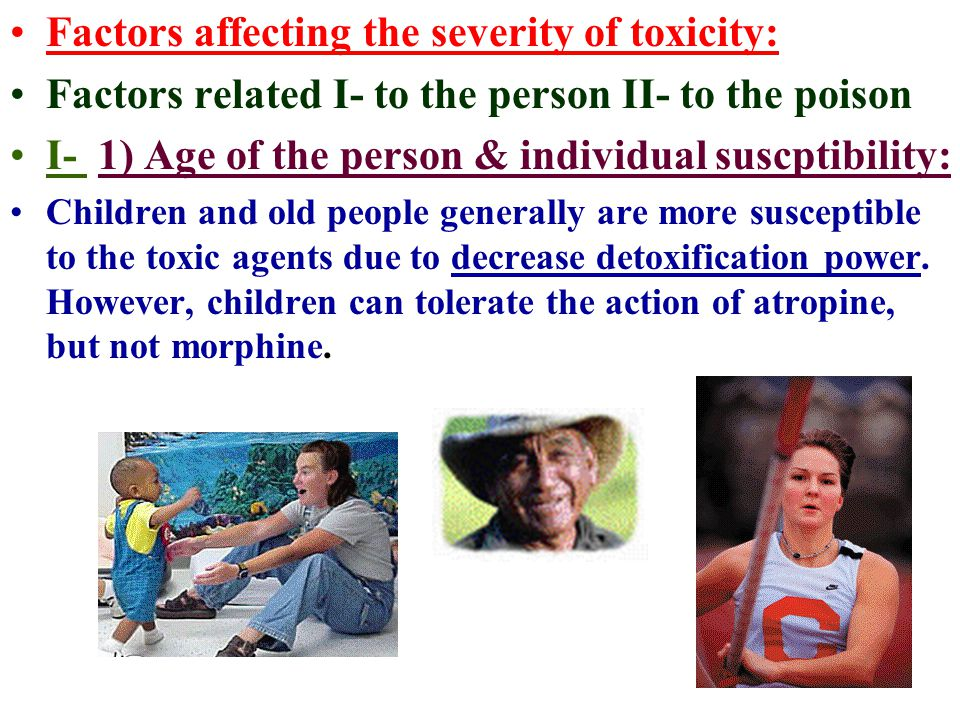 Factors affecting the severity of toxicity: