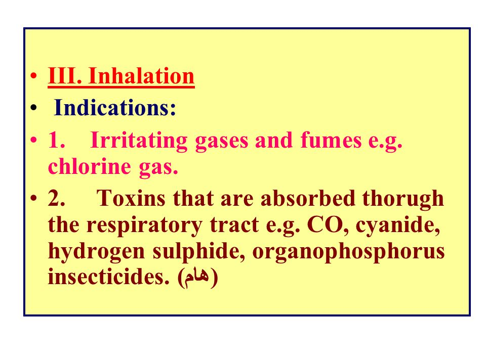 III. Inhalation. Indications: 1. Irritating gases and fumes e.g. chlorine gas.