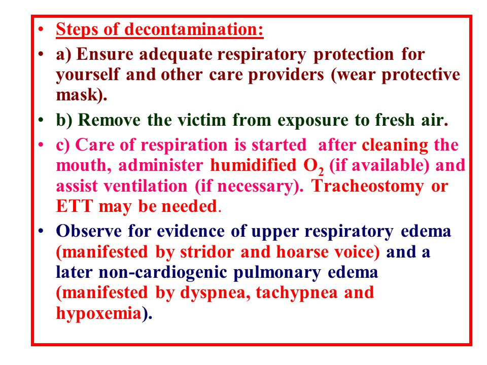 Steps of decontamination: