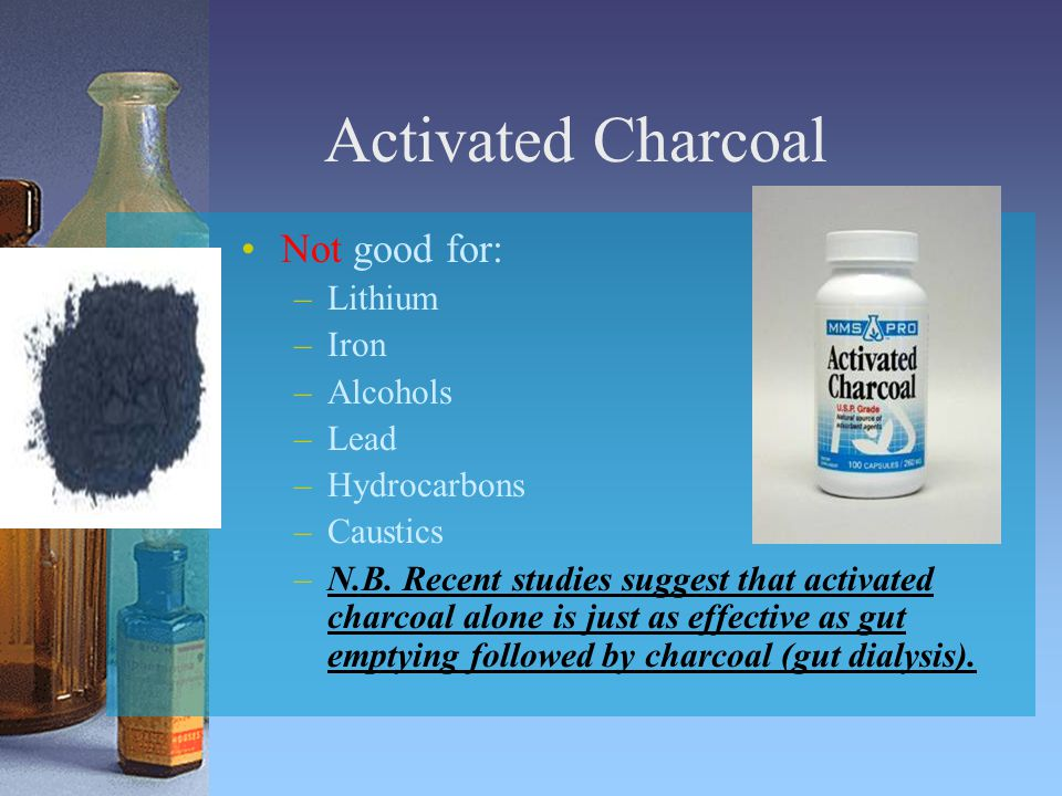Activated Charcoal Not good for: Lithium Iron Alcohols Lead