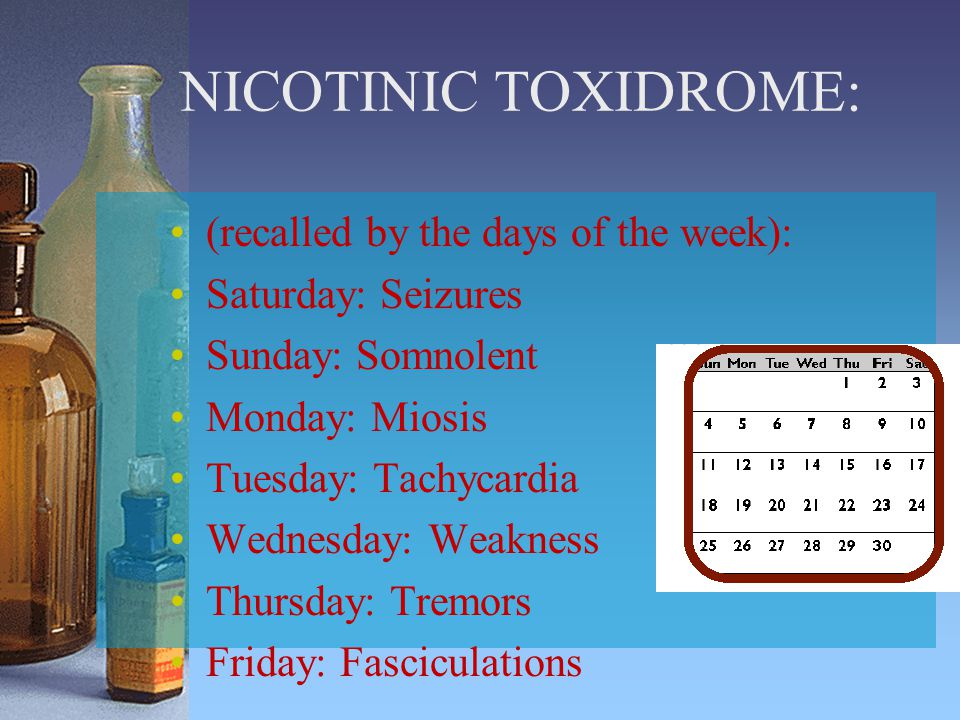 NICOTINIC TOXIDROME: (recalled by the days of the week):