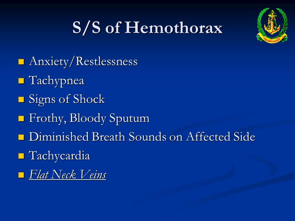 S/S of Hemothorax Anxiety/Restlessness Tachypnea Signs of Shock