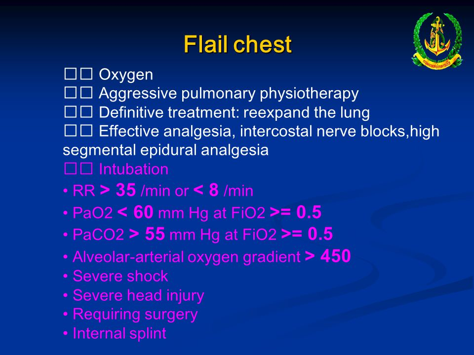 Flail chest  Oxygen  Aggressive pulmonary physiotherapy