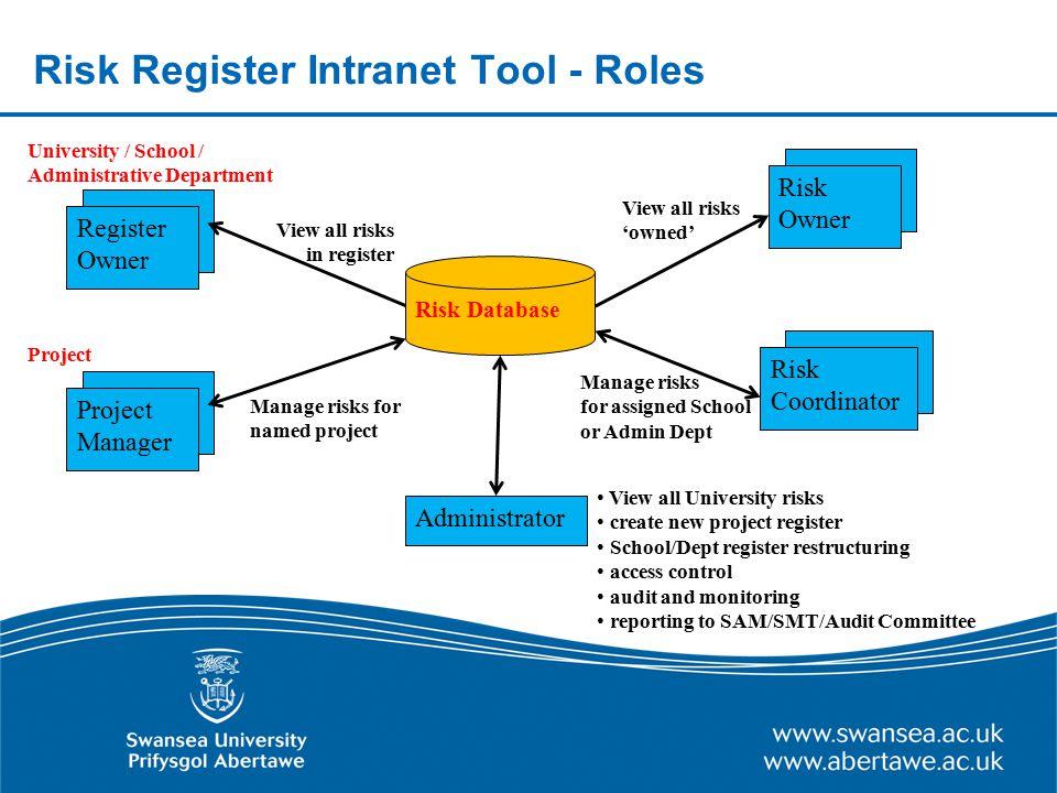 Risk Register Intranet Tool - Roles
