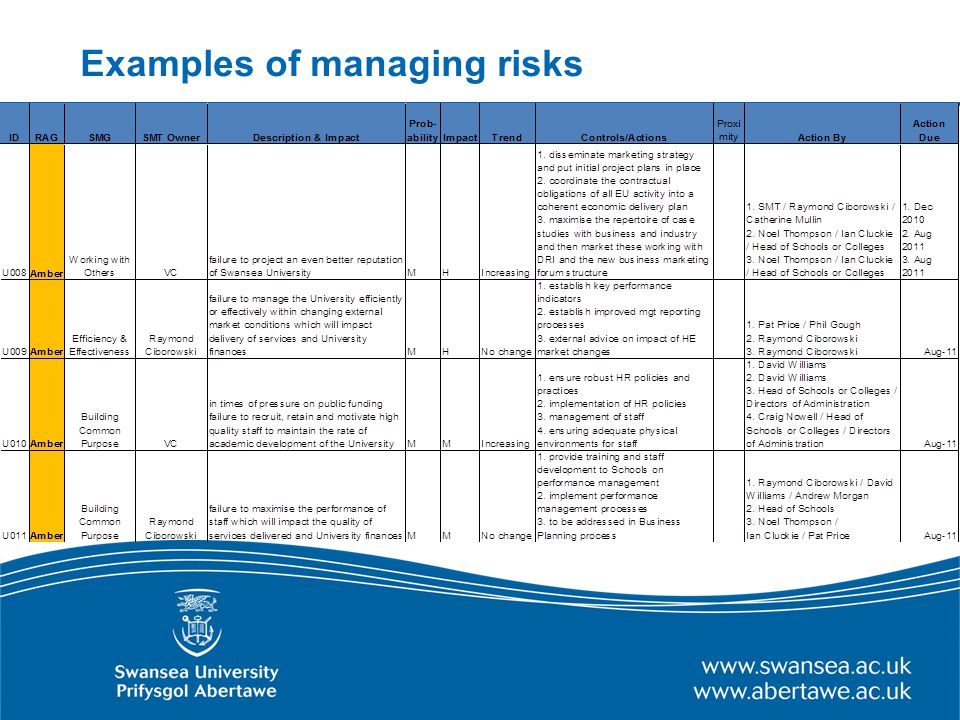 Examples of managing risks