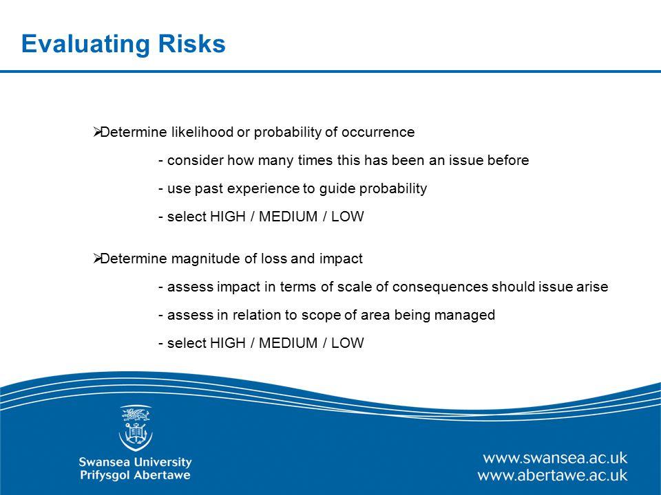 Evaluating Risks