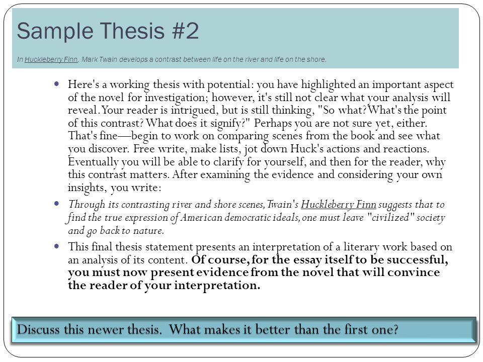 two ways of viewing the river thesis statement Would probably respond to it if it were the thesis statement of a the word choice issues in these statements thesis in five different ways.