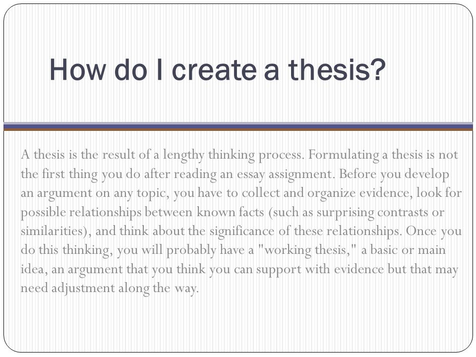 How do I create a thesis
