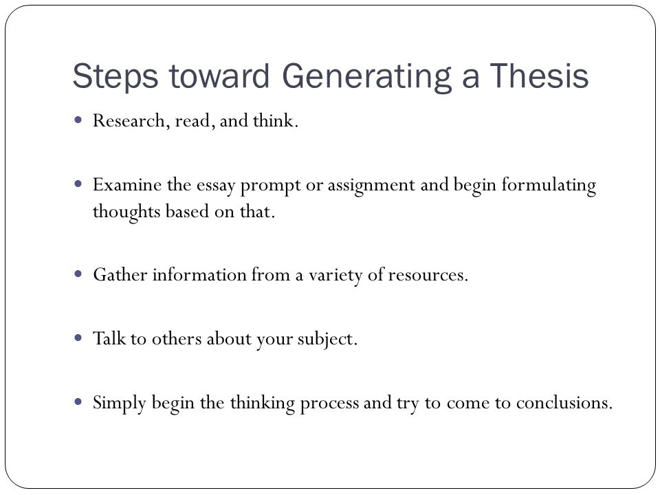 Steps toward Generating a Thesis
