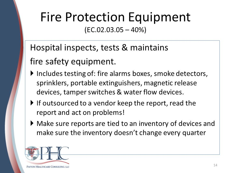 Fire Protection Equipment (EC.02.03.05 – 40%)