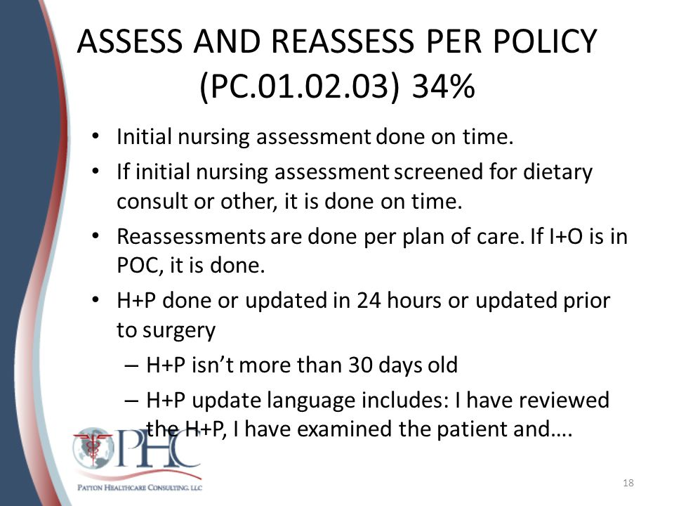 ASSESS AND REASSESS PER POLICY (PC.01.02.03) 34%