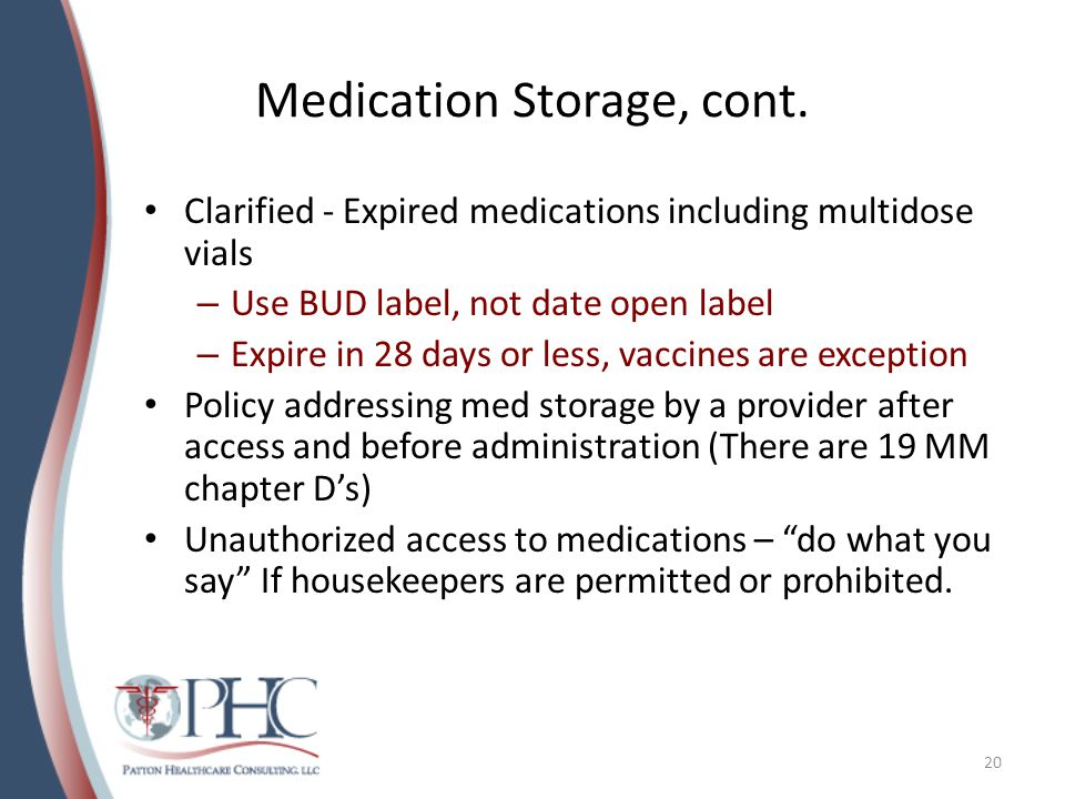Medication Storage, cont.
