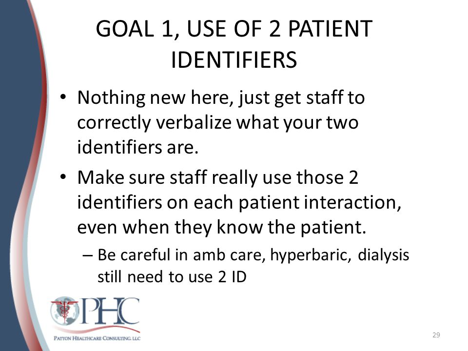 GOAL 1, USE OF 2 PATIENT IDENTIFIERS