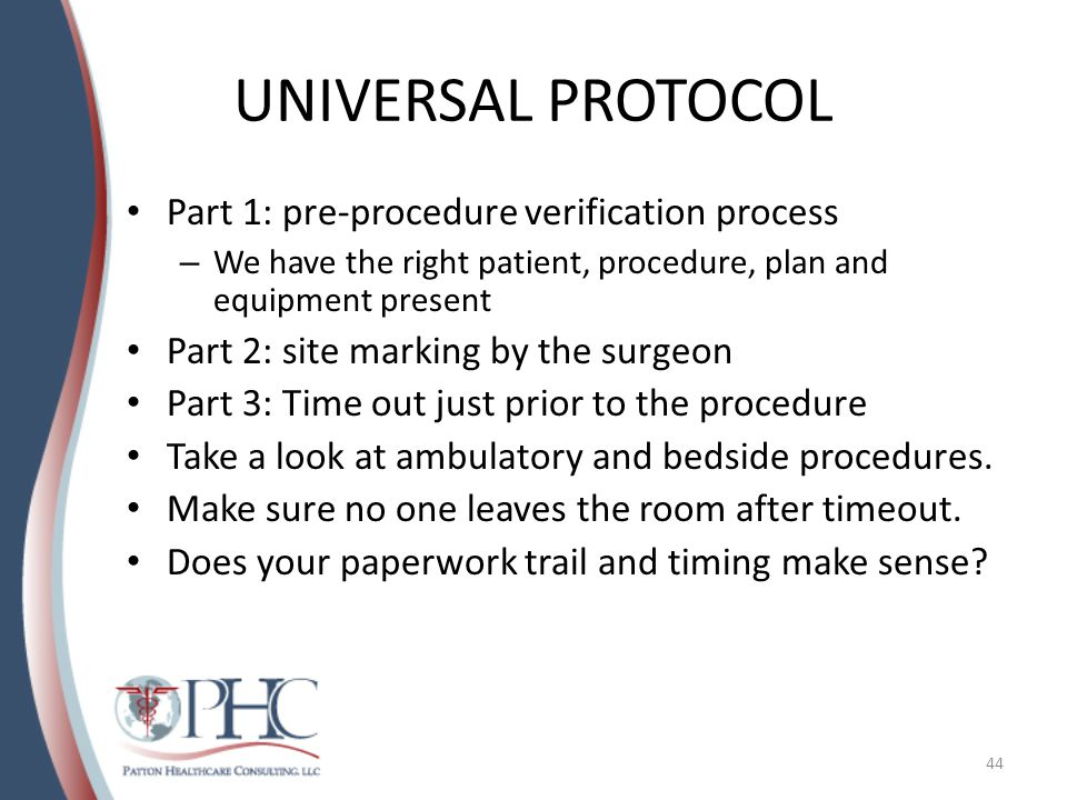 UNIVERSAL PROTOCOL Part 1: pre-procedure verification process