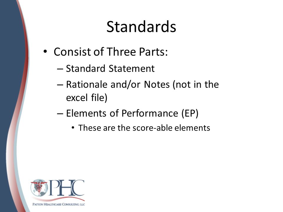 Standards Consist of Three Parts: Standard Statement