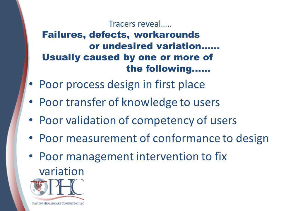 Poor process design in first place Poor transfer of knowledge to users