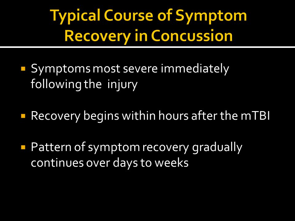 Typical Course of Symptom Recovery in Concussion