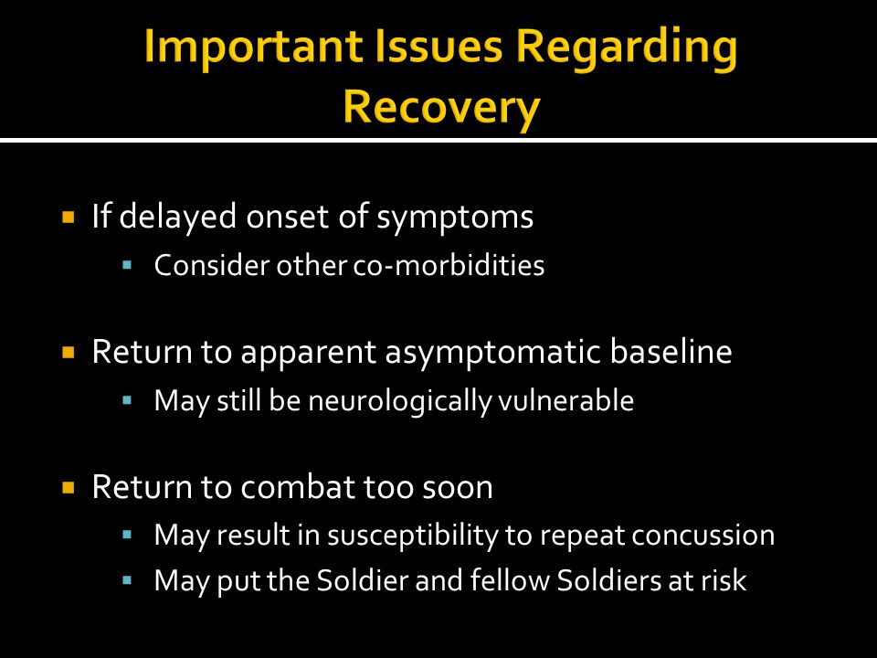 Important Issues Regarding Recovery