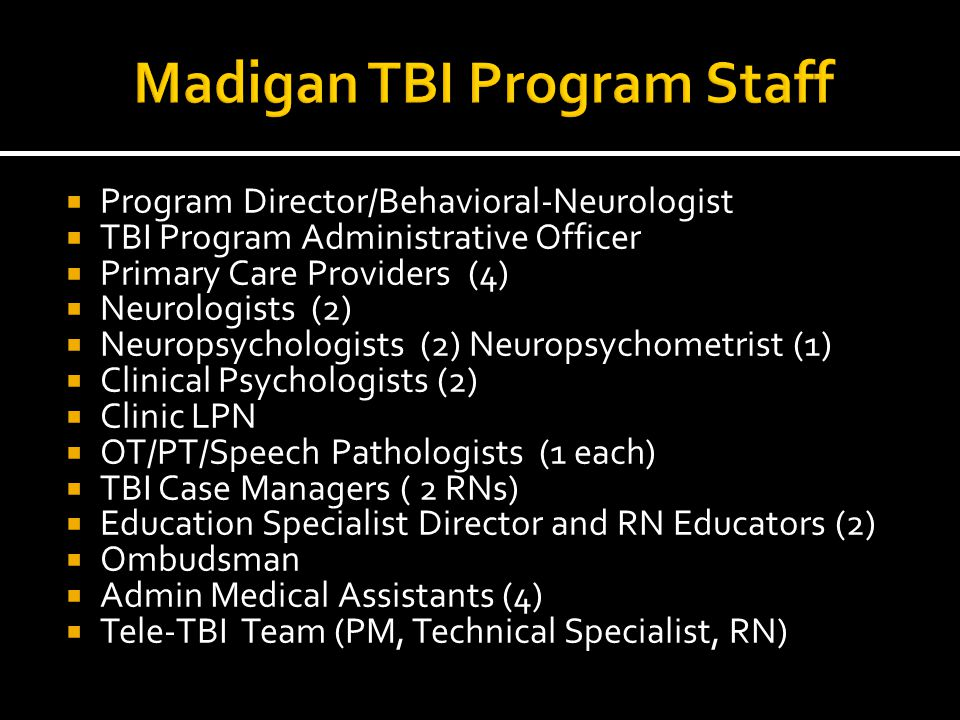 Madigan TBI Program Staff