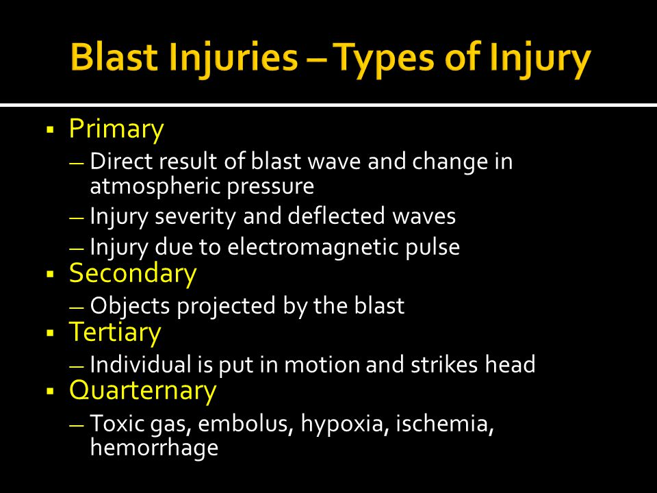 Blast Injuries – Types of Injury
