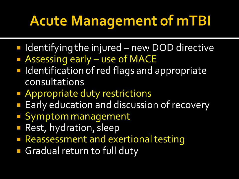 Acute Management of mTBI