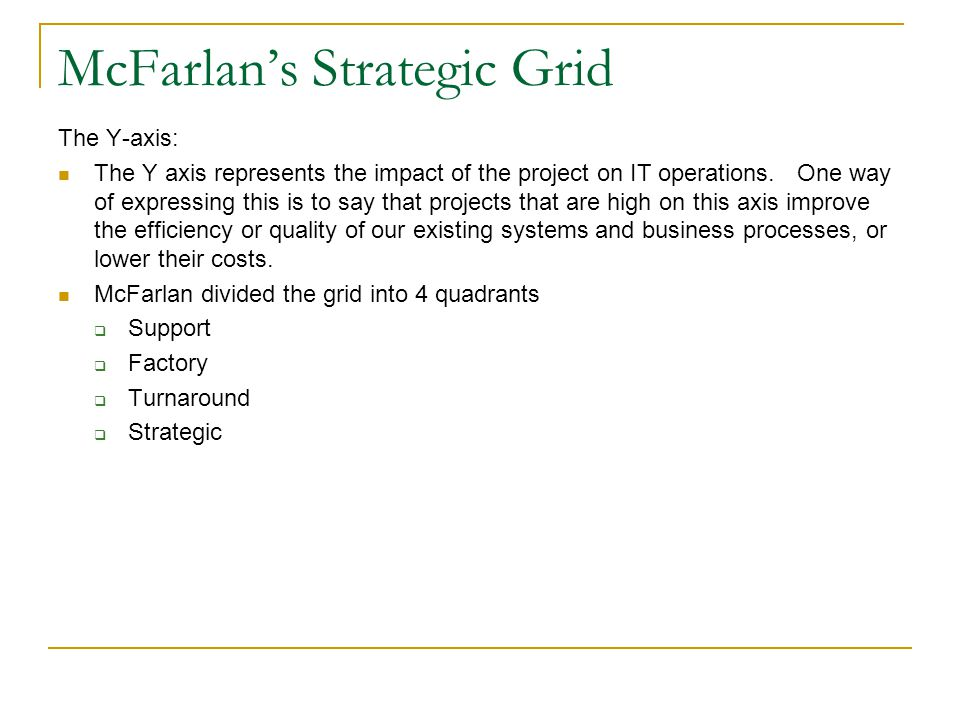 McFarlan's Strategic Grid