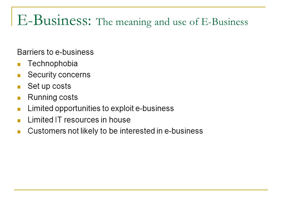 E-Business: The meaning and use of E-Business
