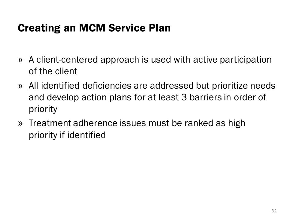 Creating an MCM Service Plan