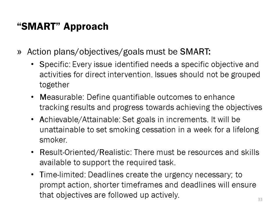 SMART Approach Action plans/objectives/goals must be SMART: