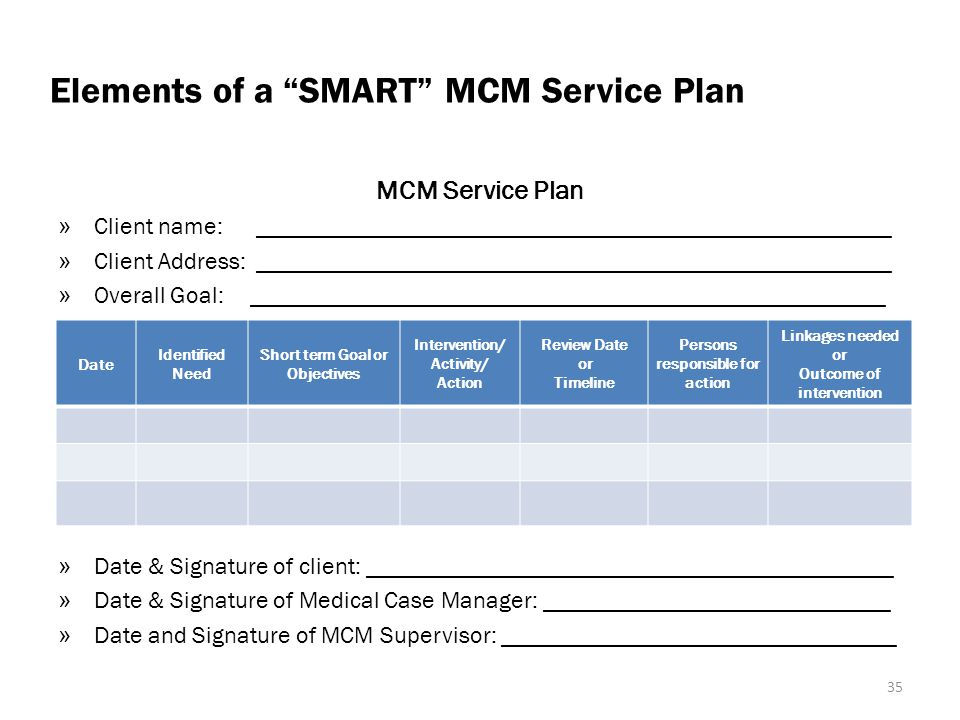 Elements of a SMART MCM Service Plan