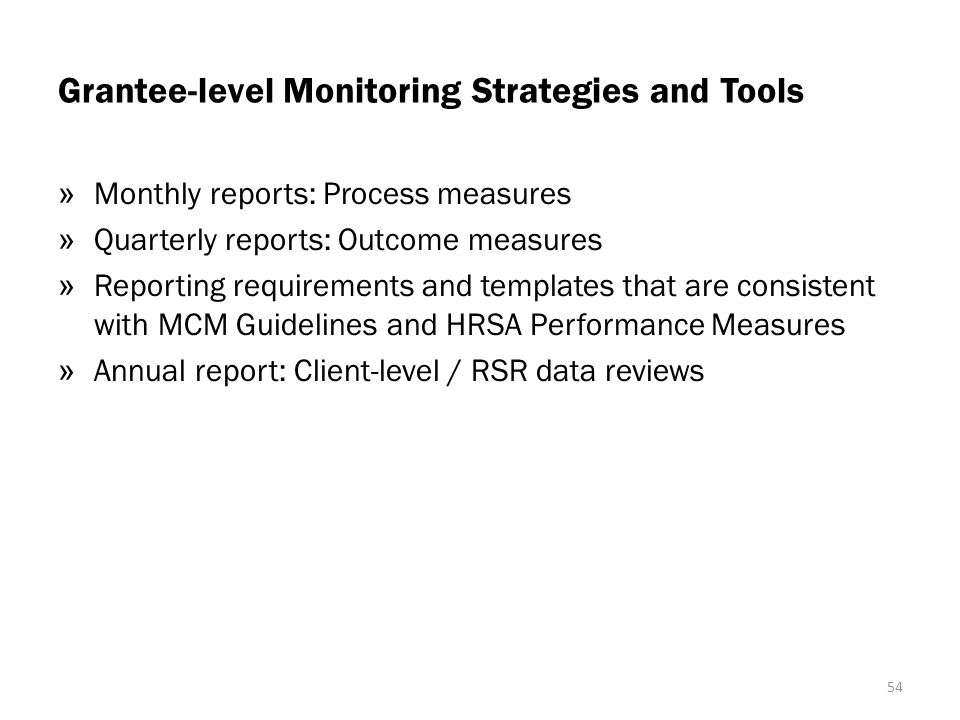 Grantee-level Monitoring Strategies and Tools
