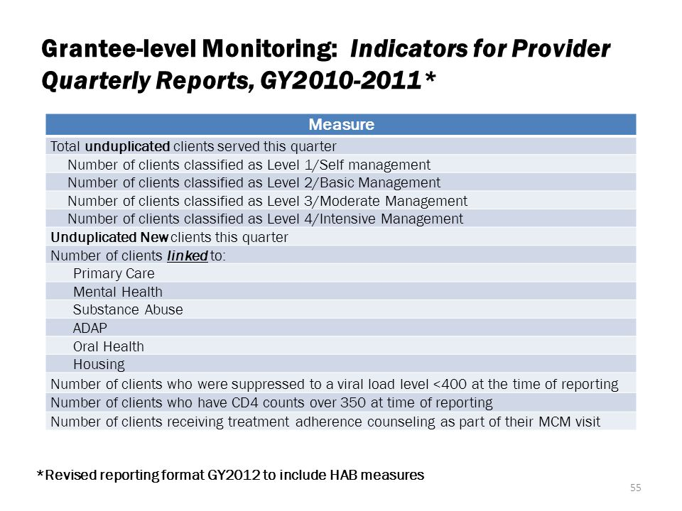 Grantee-level Monitoring: Indicators for Provider Quarterly Reports, GY2010-2011*