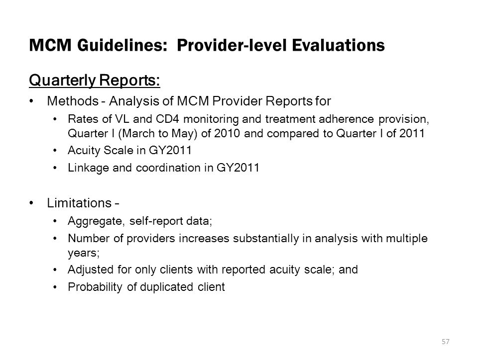 MCM Guidelines: Provider-level Evaluations