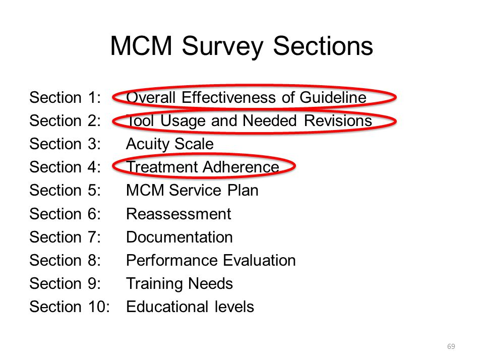MCM Survey Sections