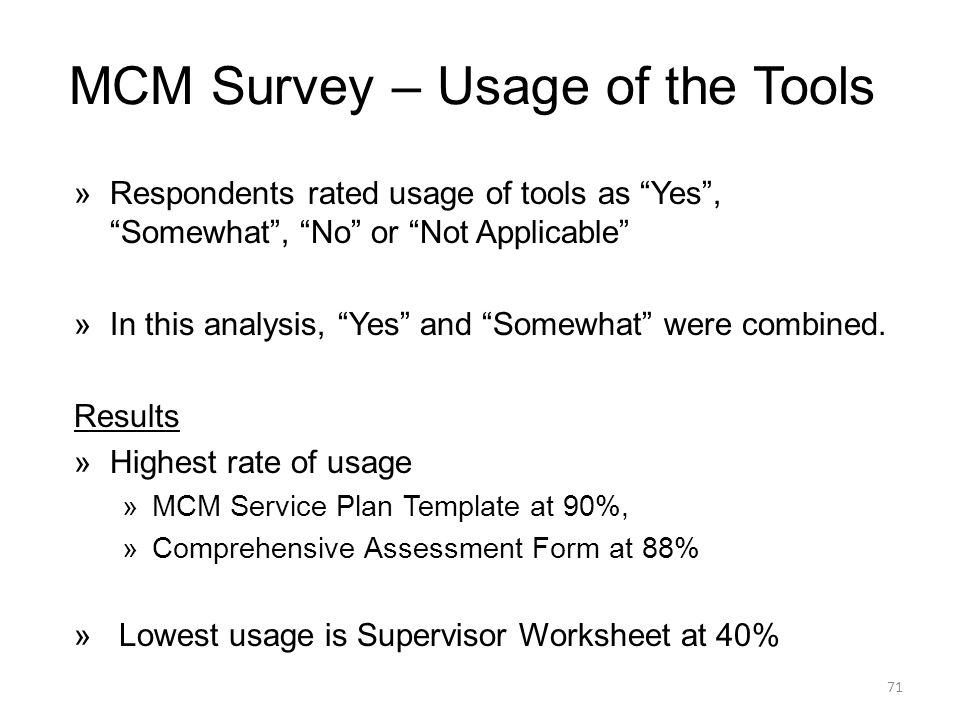 MCM Survey – Usage of the Tools