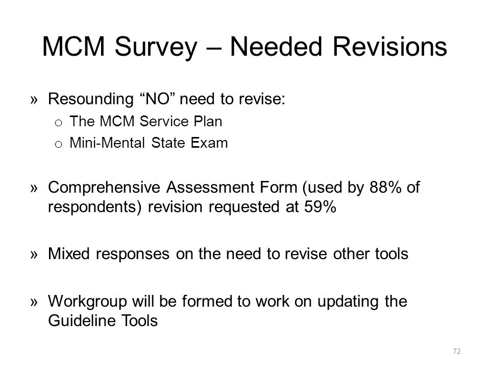 MCM Survey – Needed Revisions