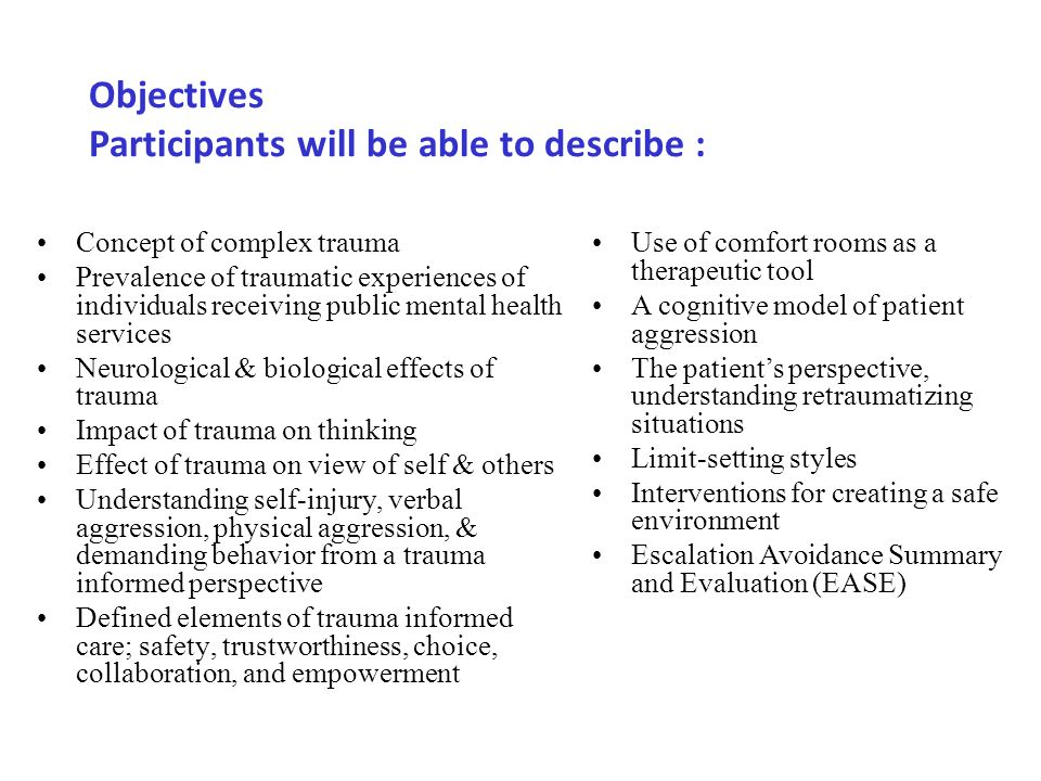Objectives Participants will be able to describe :