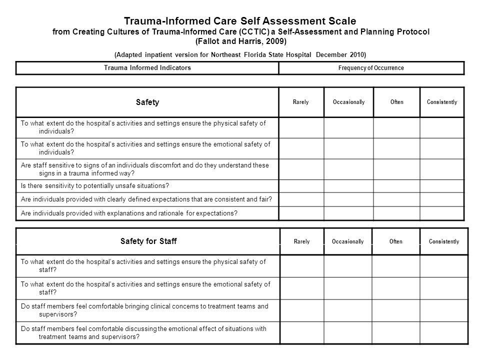 Trauma-Informed Care Self Assessment Scale