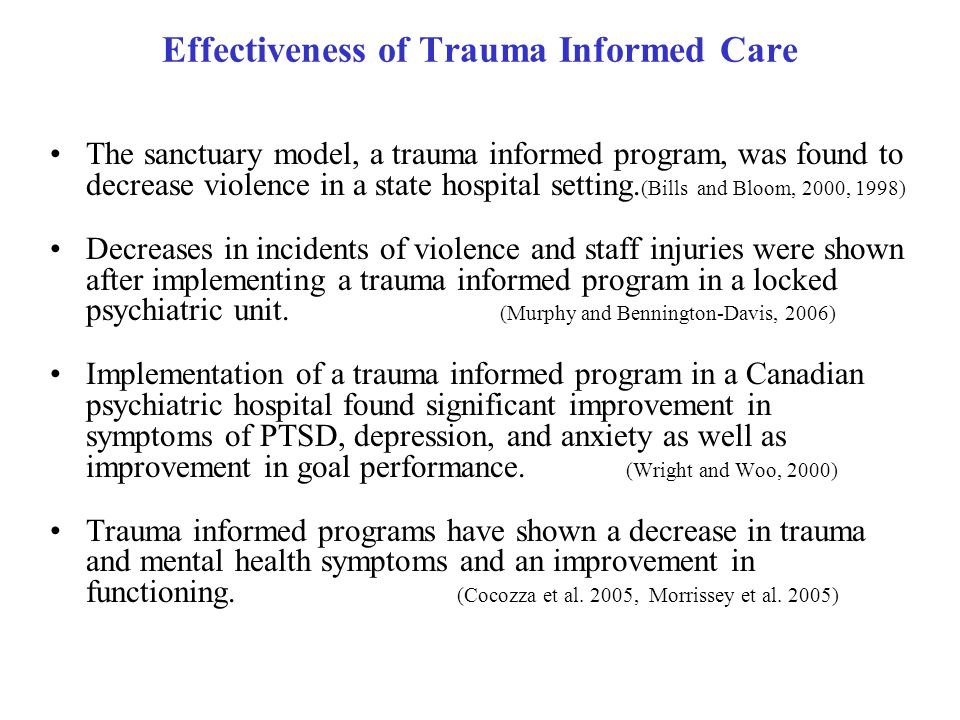 Effectiveness of Trauma Informed Care