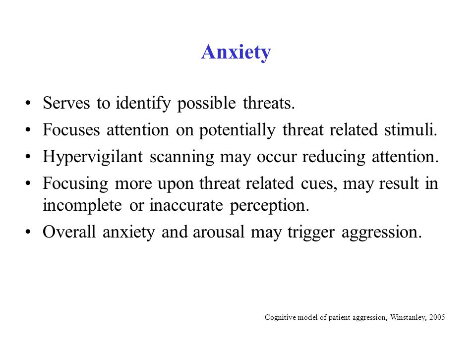 Cognitive model of patient aggression, Winstanley, 2005