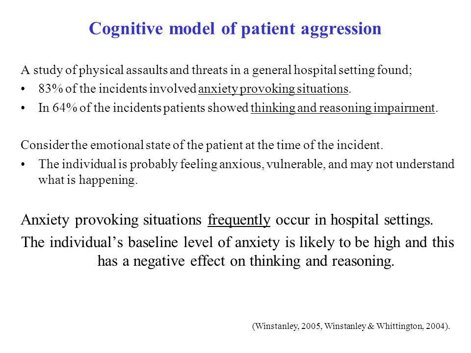 Cognitive model of patient aggression