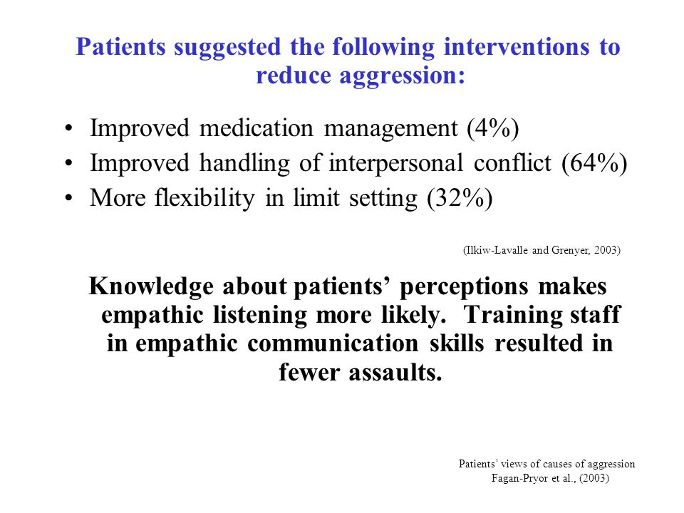 Patients suggested the following interventions to reduce aggression:
