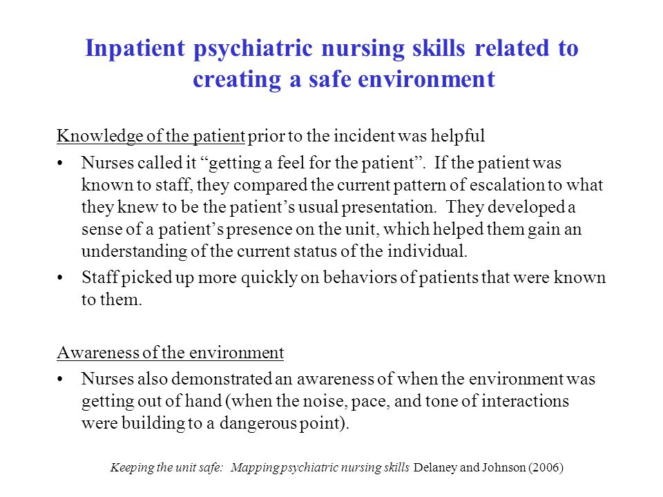 Inpatient psychiatric nursing skills related to creating a safe environment