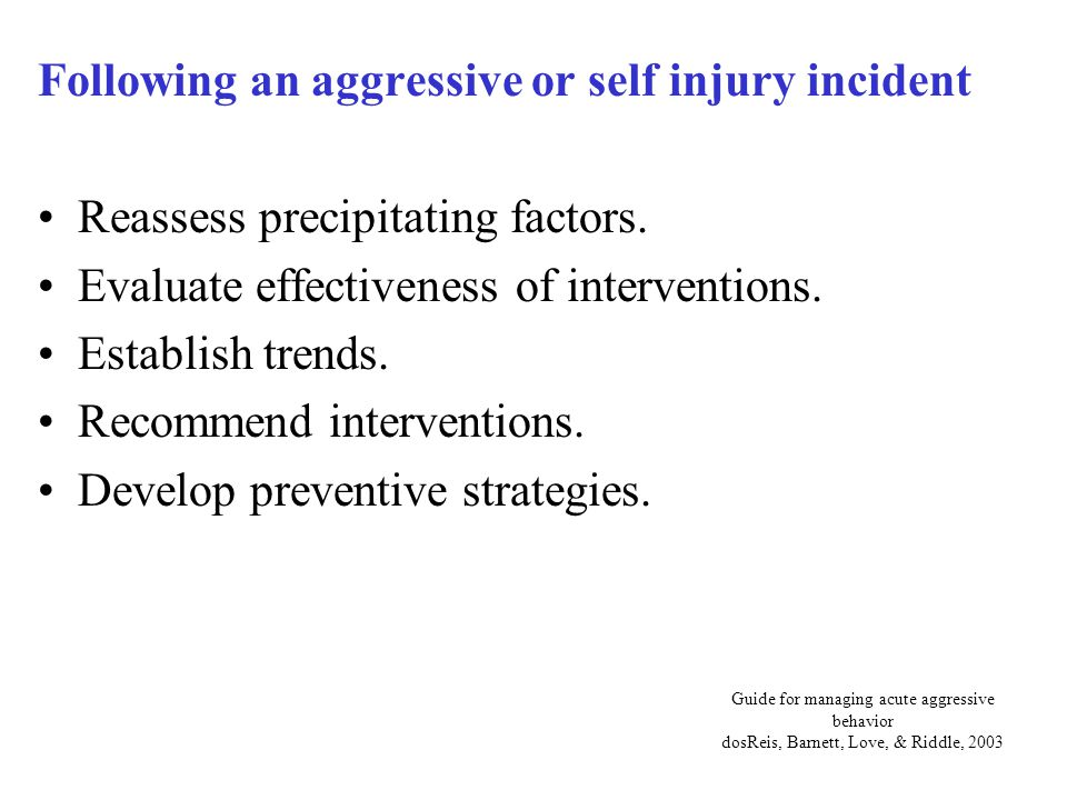 Following an aggressive or self injury incident