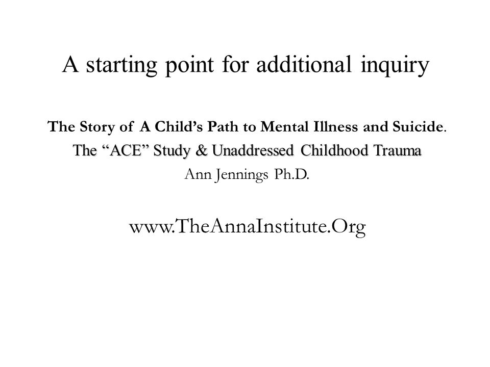 A starting point for additional inquiry