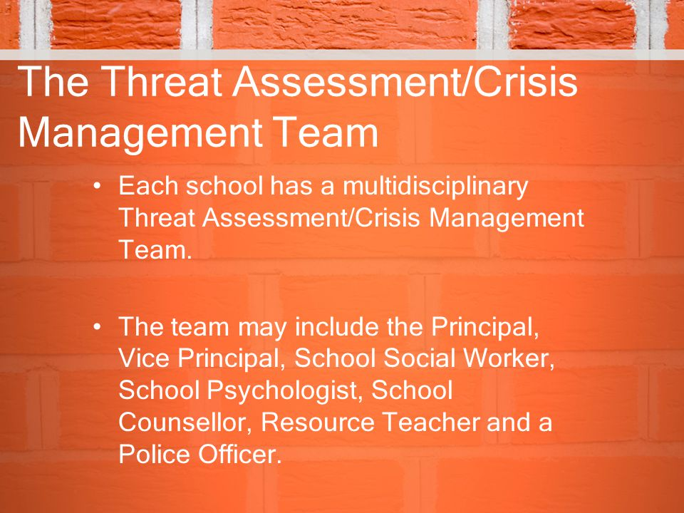 The Threat Assessment/Crisis Management Team