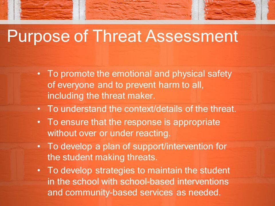 Purpose of Threat Assessment