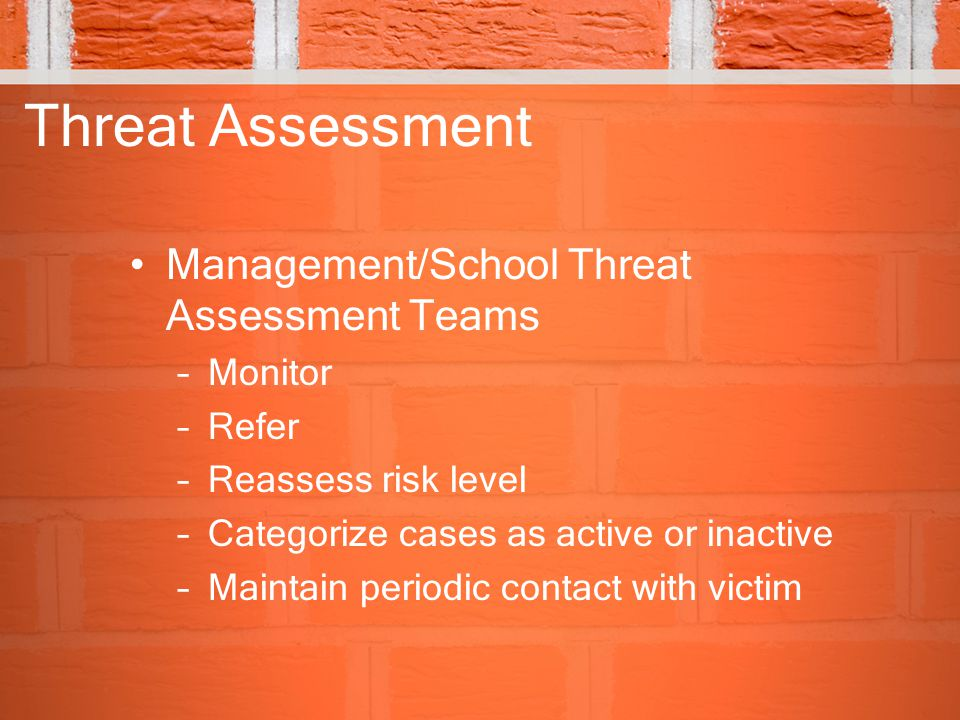 Threat Assessment Management/School Threat Assessment Teams Monitor