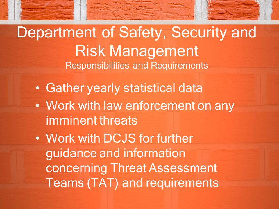 Department of Safety, Security and Risk Management Responsibilities and Requirements
